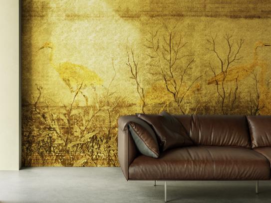WallPepper®/Metallic line sulla parete del salotto