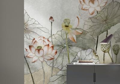 WallPepper®/Metallic line con fiori in salotto