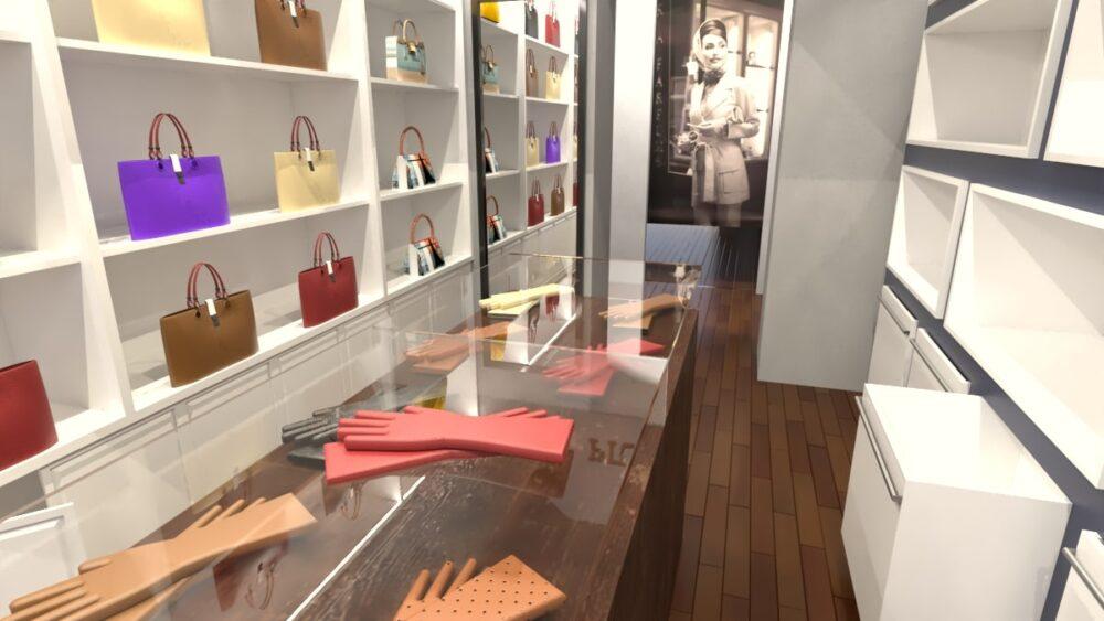 render di un negozio progettato da Cristina Pucci